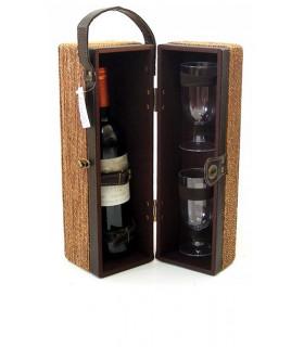 Boîte de chanvre + bouteille de verres à vin