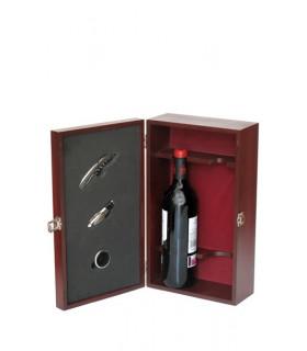 """Boîtier en bois avec accessoires pour 2 bouteilles mod """"6216"""""""